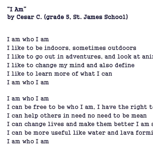 'I Am' Poem by Cesar C. from SJS